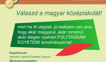 Válaszd a magyar középiskolát!