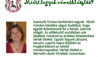Bemutatkozik Szaniszló Emese, a Németh László Elméleti Líceum előkészítő osztályának tanítónénije
